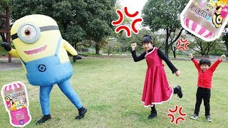 ★「ミニオンにおうくんのお土産盗まれた~!」公園でピクニック★souvenir stolen at the minion★