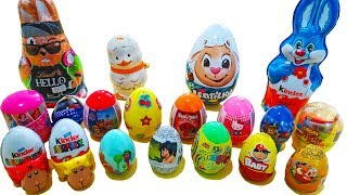 Surprise EGGS and BUNNIES - Kinder chocolate egg bunny toys easter christmas surprises for kids
