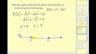 Determining where a function is increasing and decreasing using the first deriviative