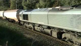 Class66 CB1000 R4C-Veolia run with Tankers Train after red signal stop!!!