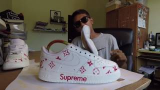 Reshoes & Customs With 9raf - nike air force 1 low X SUPERME X louis vuitton