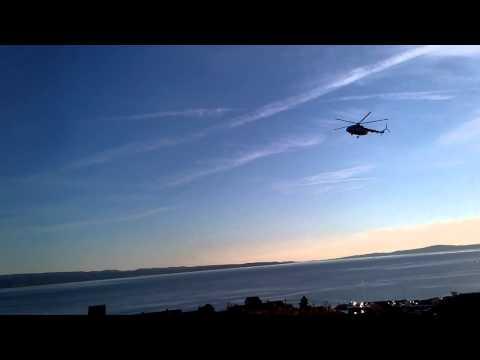Croatian airforce Mi-17 landing in sunset