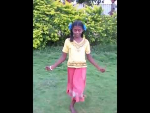 Young Tamil girl performs a spontaneous dance  - Tamilnadu, India