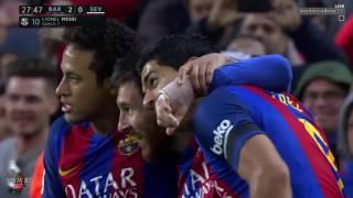 اهداف مباراة برشلونة واشبيلية 3-0 الدوري الاسباني(شاشة كاملة ) تعليق حفيظ دراجي -HD
