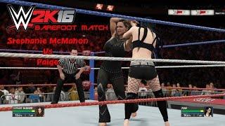 Stephanie McMahon vs. Paige  - Barefoot Match | Sexy WWE2K16 barefoot Match