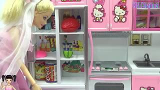 Đồ chơi trẻ em Búp bê Barbie hướng dẫn làm CHAI TRÀ XANH THẠCH RAU CÂU CẦU VỒNG DỌC