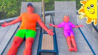Настя и Папа и забавное солнышко Nastya and Papa pretend play with funny sun
