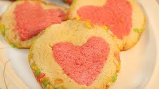 ❤চুলায় Hidden Love Biscuit/Valentine Cookies/How to make heart Biscuit slice/Love Biscuit in Bangla
