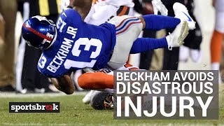 Odell Beckham Jr. Avoids Disastrous Injury After Low Hit