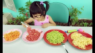 Learn Colors with Baby Noodle Song | Kids Eat colorful noodles Finger Family Nursery rhymes