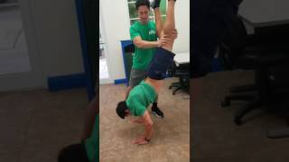 Hand stand pushup attempt #1. Fail. With spotter.
