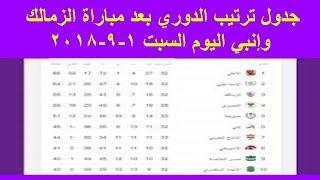 جدول ترتيب الدوري المصري بعد مباراة الزمالك وإنبي اليوم السبت 1 - 9 - 2018