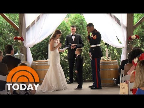 Watch Marine's Son, 4, Tearfully Hug His New Stepmom As She Reads Wedding Vows | TODAY