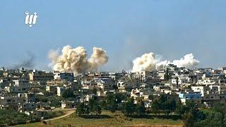 مشاهد لعدد من صواريخ الفيل والبراميل المتفجرة التي ألقتها قوات النظام على أحياء درعا البلد 26-2-2017