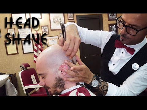 💈 Old school Barber - Head Shave with shavette - ASMR no talking
