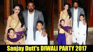 Sanjay Dutt With Wife Manyata And Kids CELEBRATES Diwali 2017