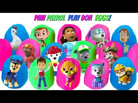 Best Learning Colors Video for Children with 15 Paw Patrol Play Doh Dough Eggs with Toys