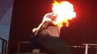 Michael Clifford's hair and face on Fire during 5SOS Concert   DIFFERENT ANGLES