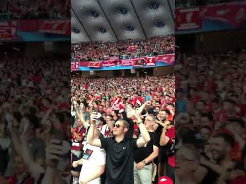 Liverpool fans singing one kiss