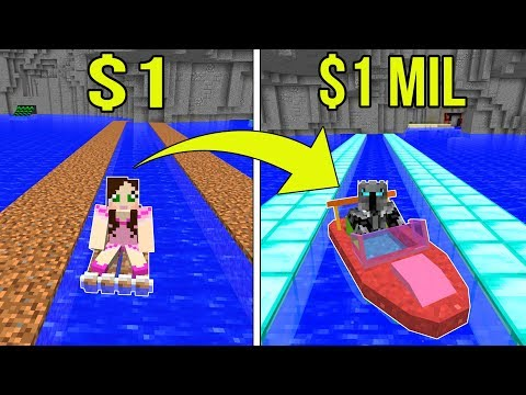 Minecraft 1 DOLLAR BOAT VS 1 000 000 DOLLAR RAINBOW BOAT Crafting Mini Game