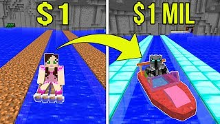Minecraft: 1 DOLLAR BOAT VS 1,000,000 DOLLAR RAINBOW BOAT!!! Crafting Mini-Game