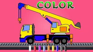 Crane | Coloring video for kids  | color song with construction vehicles