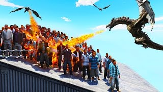 100 PEOPLE vs. 1 DRAGON! (GTA 5 Game of Thrones Mod)