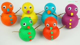Learn Colors Play Doh Making Rainbow Snowman Molding Clay Fun and Creative for Kids