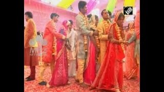 India News - Around 90 couples tie nuptial knot at mass wedding ceremony in northern India