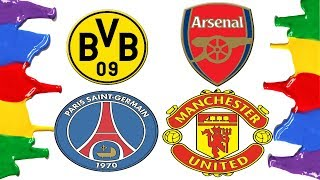 How to Draw and Color - Arsenal, Borussia Dortmund, Manchester United and Paris St-Germain Logos
