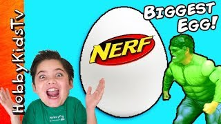 Giant NERF Surprise Egg with HobbyDad as Hulk
