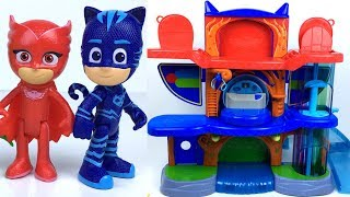 PJ MASKS HEADQUARTERS PLAYSET WITH CATBOY & CAT CAR HIDDEN PASSAGEWAY ELEVATOR AND TRAPS - UNBOXING