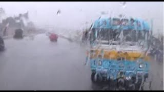 Dangerous Public Bus (L-238) Driving During Heavy Rain & In Low Visibility, Jessore Road, Kolkata