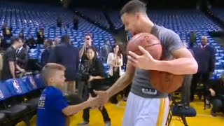 Stephen Curry Invites Young Fan to Try His Pregame Dribbling Routine