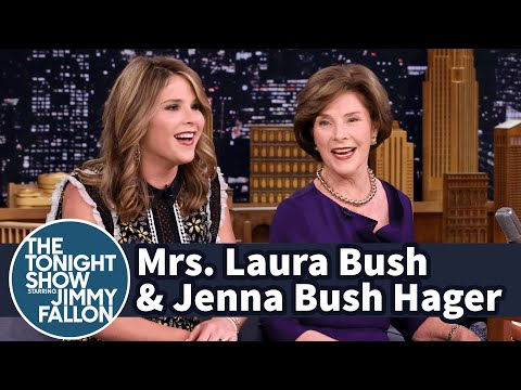 watch Mrs. Laura Bush and Jenna Bush Hager on George W. Bush's Painting