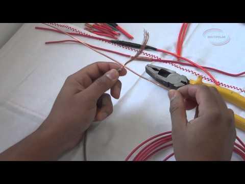 Como emendar um cabo flexível com um fio sólido.