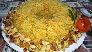 أرز بالبسله والجزر والفراخ مطبخ ساسى