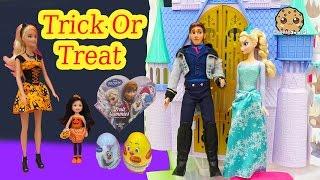 Barbie Dolls Trick Or Treat Video with Disney Frozen Queen Elsa, Prince Hans - Cookieswirlc
