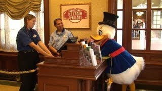 Scrooge McDuck Looks For Money at Magic Kingdom City Hall & Bank, Limited Time Magic Lost Friends