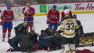 Canadiens' Danault stretchered off after taking Chara slap shot to the head