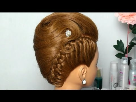 French twist hairstyle for long medium hair. Updo with braid