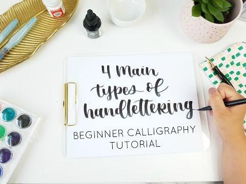 4 Types of Handlettering | Beginner Calligraphy Tutorial