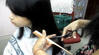 Straight Blunt Haircut for Prathysha - small girl haircut video