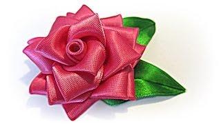 Download Como hacer una Rosa de cinta. Ribbon rose. 3Gp Mp4