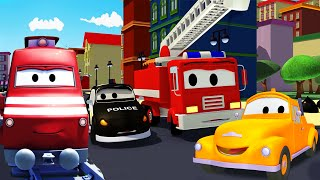 The Car Patrol, Tom the Tow Truck and Troy the Train help Car City | Trucks Cartoons for kids