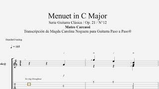 Minuet en Do Mayor - Carcassi - Tablatura por Magda Noguera...