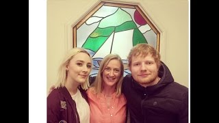 Ed Sheeran & Saoirse Ronan on the set of