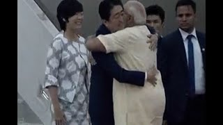 PM Narendra Modi receives Japanese PM Shinzo Abe and his wife Akie Abe at Ahmedabad Airpor
