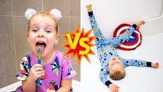 Gaby vs Alex School Morning Routine Pretend Play