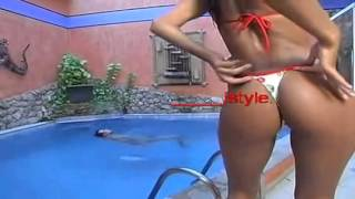 Nice indian ass in swimming pool